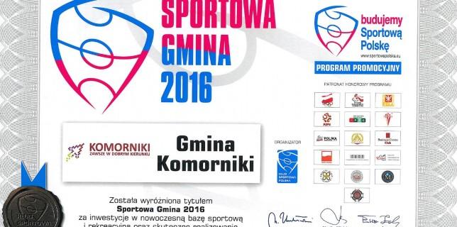 """Tytuł """"Sportowa Gmina 2016″ dla Komornik"""